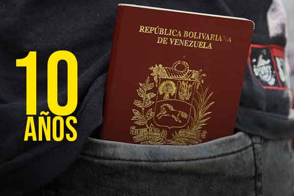 pasaporte venezolano 10 anos
