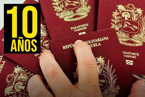 pasaporte venezolanos primera vez 10 años